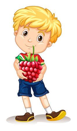rasberry: Little boy holding rasberry illustration