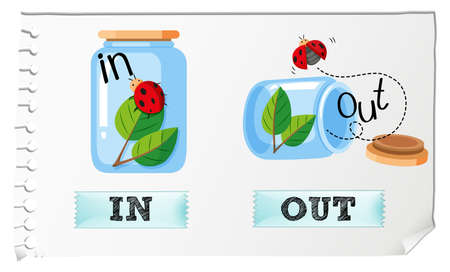 out: Opposite adjectives in and out illustration
