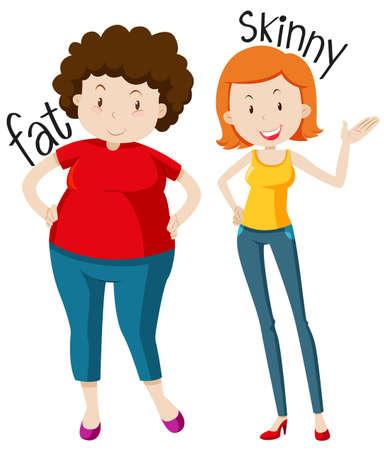 femme dessin: adjectifs face avec de la graisse et l'illustration maigre Illustration