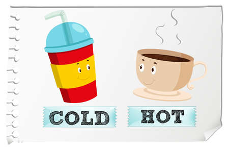 opposites: Opposite adjectives with cold and hot illustration