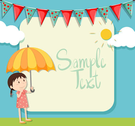 sunny: Border design with girl and umbrella illustration