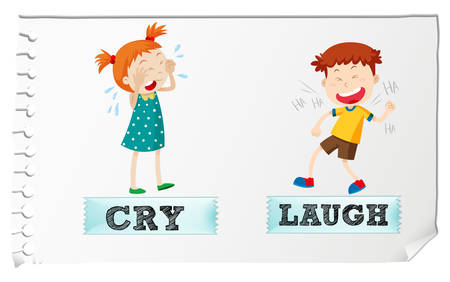 adjective: Opposite adjectives cry and laugh illustration