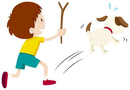 chasing: Mean boy chasing a dog illustration