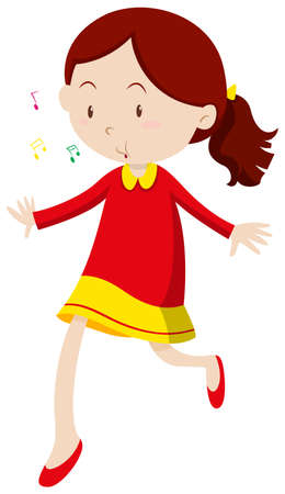 whistling: Little girl with happy face illustration Illustration