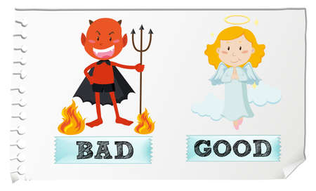 fantacy: Opposite adjectives with good and bad illustration Illustration
