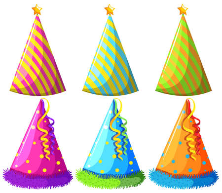 party hats: Different design of party hats illustration