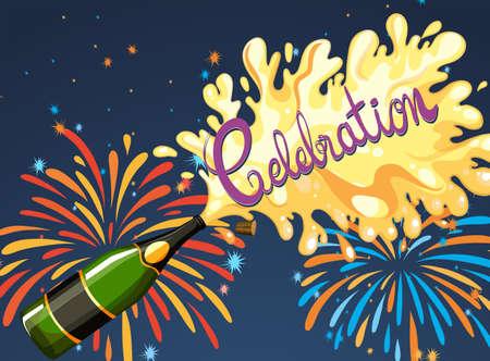 bottle wine: Celebration night with firework and champagne illustration