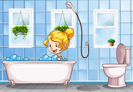 taking bath: Girl taking bath in the bathroom illustration Illustration