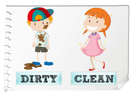 opposite: Opposite adjectives dirty and clean illustration Illustration