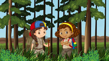hiking: Two girls hiking in the jungle illustration Illustration