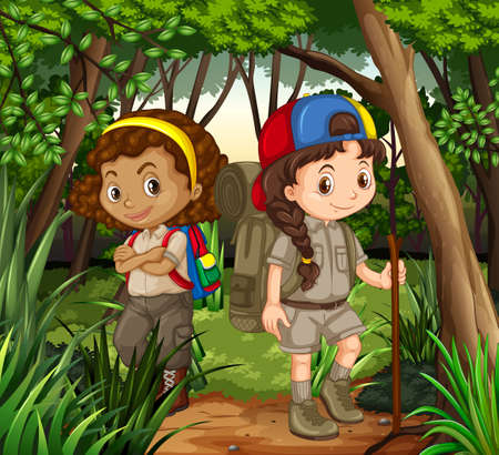 hiking: Girls hiking out in the woods illustration