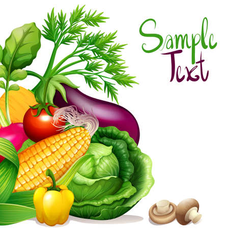 calories: Fresh vegetables with sample text space illustration Illustration
