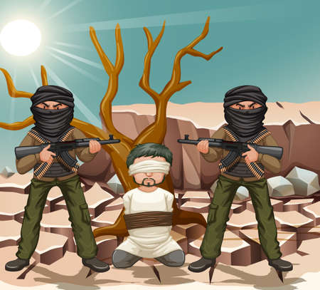 islamic scenery: Two terrorists with gun and a victim illustration