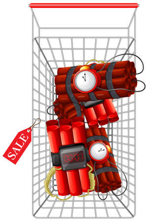 Timebomb in shopping cart illustration