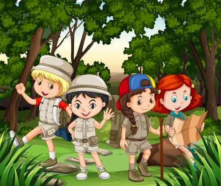 hiking: Group of children hiking in the forest illustration Illustration