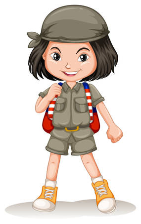 hiking: Little girl with backpack illustration