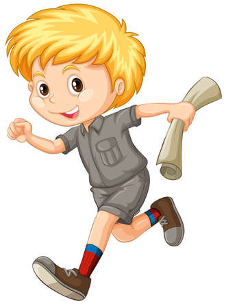 student boy: Little boy with map running illustration Illustration