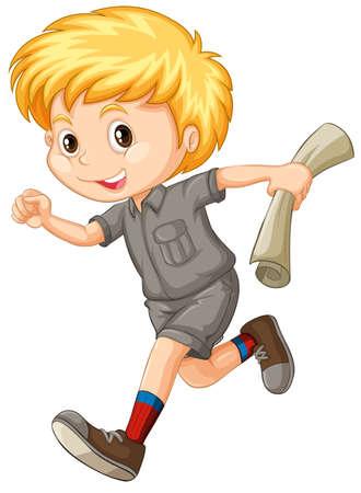 cute little boy: Little boy with map running illustration Illustration