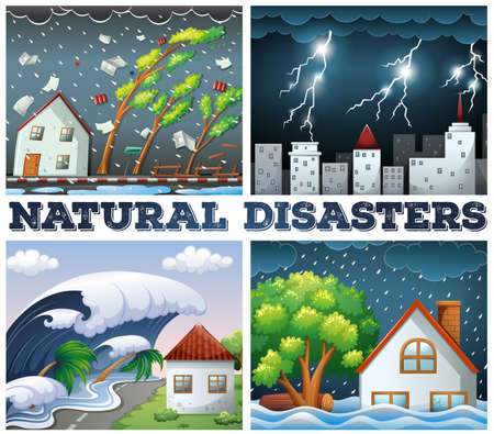 Four scenes of natural disasters illustration