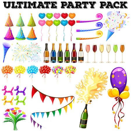 ultimate: Ultimate party pack with many ornaments illustration