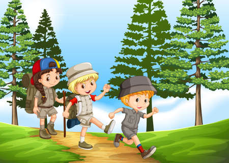 Group of children hiking in the park illustration