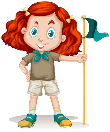 girl scout: Little girl in camping outfit illustration