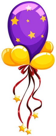 decorating: Purple balloon with red ribbon illustration