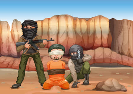 victim: Terrorists and victim being blind folded illustration Illustration