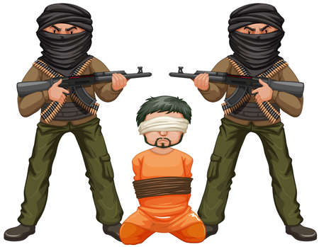 hostage: Two terrorists with guns and a victim illustration Illustration