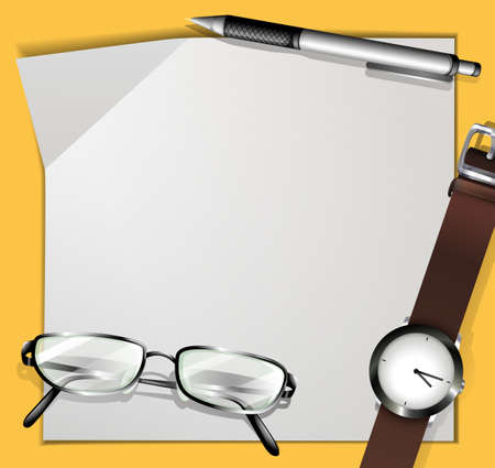eyeglass: Border design with paper and stationaries illustration Illustration