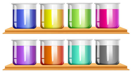 mixtures: Different color chemical in beakers illustration