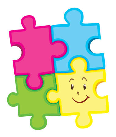 art piece: Jigsaw puzzle pieces with happy face illustration Illustration