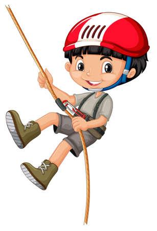 niño escalando: El muchacho en escalada engranajes que sostienen una ilustración de la cuerda Vectores