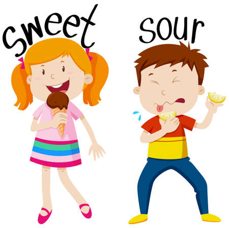 sour: Opposite adjectives with sweet and sour illustration