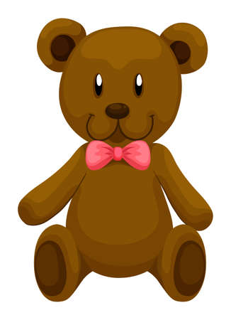 smile close up: Brown teddy bear with red ribbon illustration Illustration