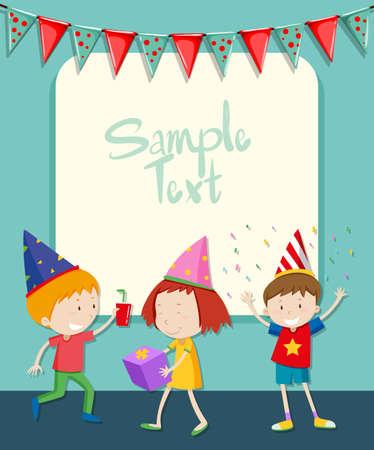 children party: Border design with children at party illustration