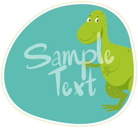 Border design with green dinosaur illustration