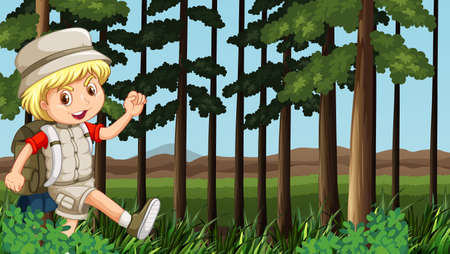 hiking: Boy hiking in the woods illustration