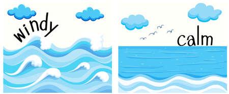 olas de mar: Adjetivos opuestos con la ilustración de viento y calma