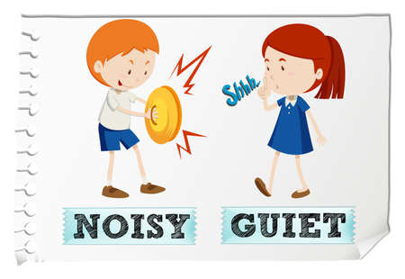 Opposite adjectives noisy and quiet illustration