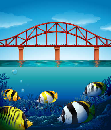 underwater scene: Bridge over the ocean and underwater scene illustration Illustration