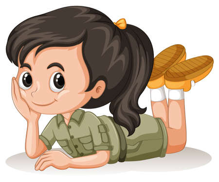 Little girl with happy face illustration Ilustracja