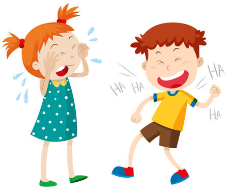 boy smiling: Girl crying and boy laughing illustration