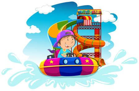water slide: Boy riding on water slide illustration Illustration