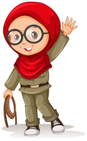petite fille musulmane: fille musulmane avec un foulard rouge illustration Illustration