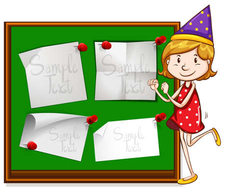 party girl: Border design with girl in party hat illustration