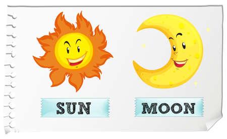 sol y luna: Sol y la Luna con cara feliz ilustración