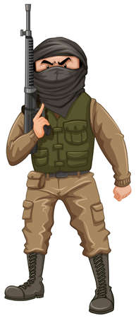 terrorist: Terrorist carrying a rifle gun illustration