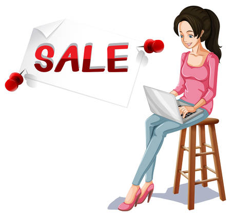 typing on computer: Sale sign and girl typing on computer illustration Illustration
