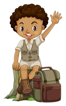 log on: African boy in camping suit illustration
